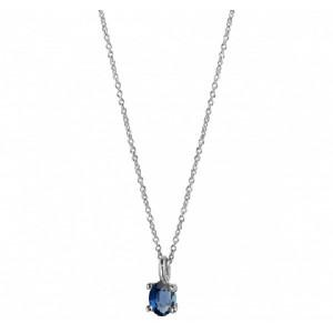 Colgante oro blanco 18k zafiro azul  - 03-173847B