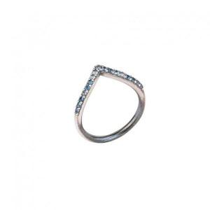 Anillo sunfield plata circon azul medida 15 - AN061056