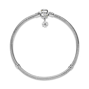 Pulsera plata Pandora flor esmalte blanco - 598776C01-17